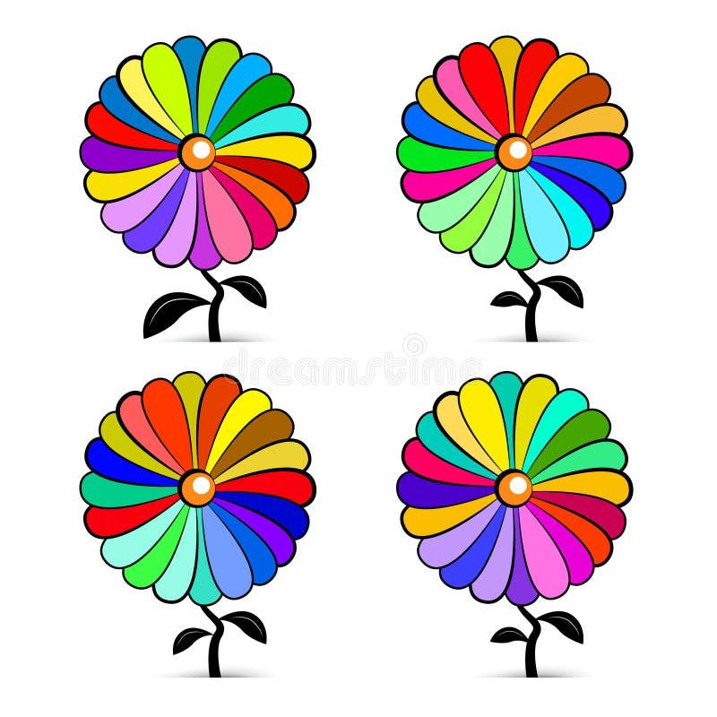Abstrakte Retro- bunte Vektor-Blumen eingestellt lizenzfreie abbildung