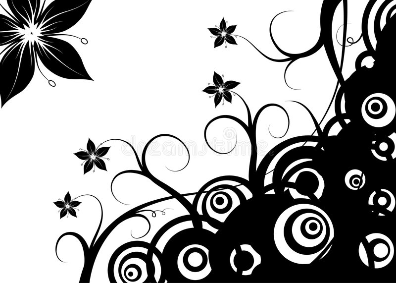 Abstrakte Retro- Kreise u. Blumen, Vektor vektor abbildung