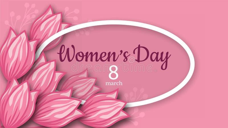 Abstrakte rosa Blumengrußkarte - internationaler glücklicher Frauen ` s Tag - 8. März Feiertagshintergrund mit Papier schnitt Fel vektor abbildung