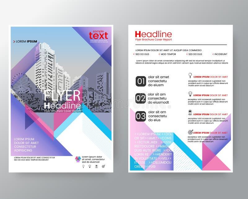 Abstrakte rosa u. purpurrote diagonale Linie Broschürenjahresberichtabdeckung Flieger-PlakatEntwurfschablone lizenzfreie abbildung