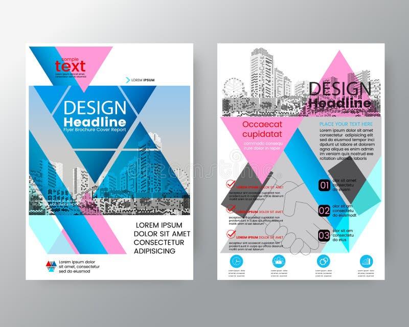 Abstrakte rosa und blaue Dreieck Broschürenjahresberichtabdeckung Flieger-PlakatEntwurfschablone lizenzfreie abbildung