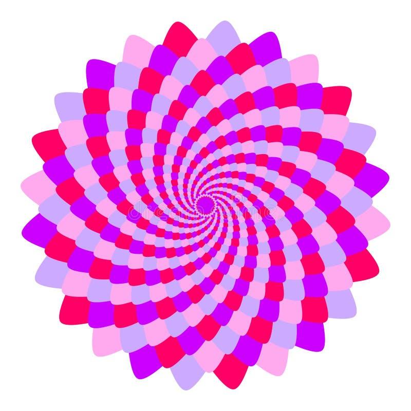 Abstrakte rosa und violette Mandala, Blume lokalisiert auf weißem Hintergrund, purpurroter und magentaroter Blüte des Fractal, ge stock abbildung