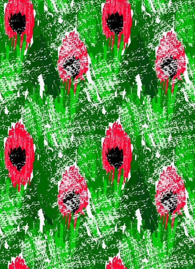 Abstrakte rote Blumen auf Grün mit Schmutz lizenzfreie abbildung