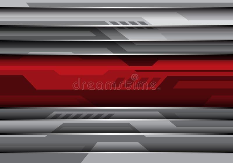 Abstrakte rote Fahne auf modernem Hintergrundvektor des grauen Metallfuturistischen Arttechnologiedesigns lizenzfreie abbildung
