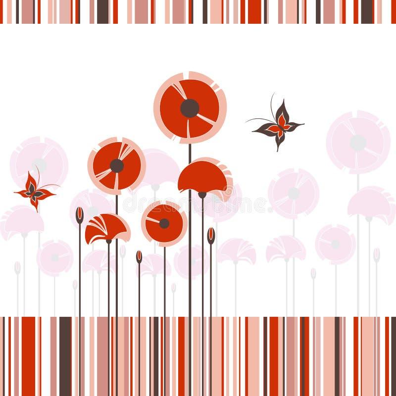 Abstrakte rote Mohnblume auf buntem Streifenhintergrund stock abbildung