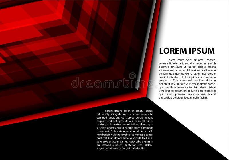 Abstrakte rote Pfeiltechnologie mit modernem futuristischem kreativem grafischem Hintergrundvektor des schwarzen weißen Textplatz lizenzfreie abbildung