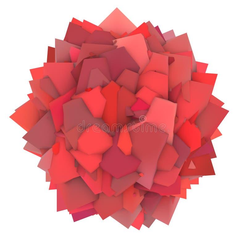 abstrakte rote rosa Form 3d auf Weiß vektor abbildung