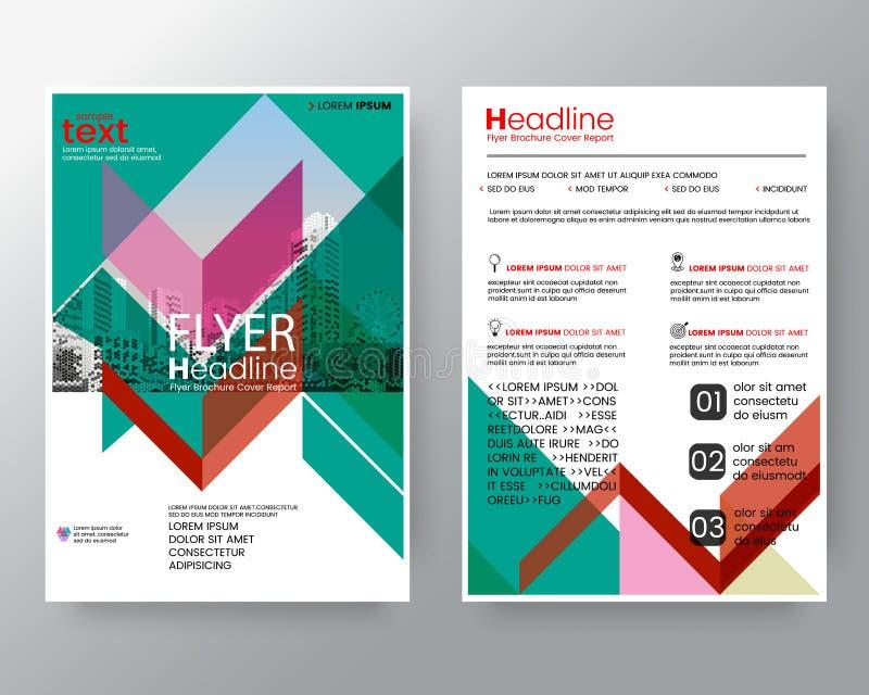 Abstrakte rote und grüne diagonale Linie Broschürenjahresberichtabdeckung Flieger-PlakatEntwurfschablone in der Größe A4 stock abbildung