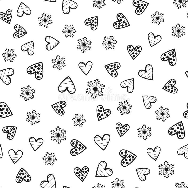 Abstrakte runde Blumen und verzierte Entwürfe von Herzen Nahtloses Muster stock abbildung
