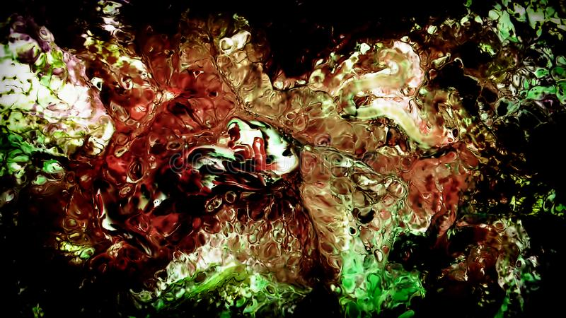 Abstrakte Schönheit der Kunsttintenfarbe explodieren bunte Fantasieverbreitung stockfoto