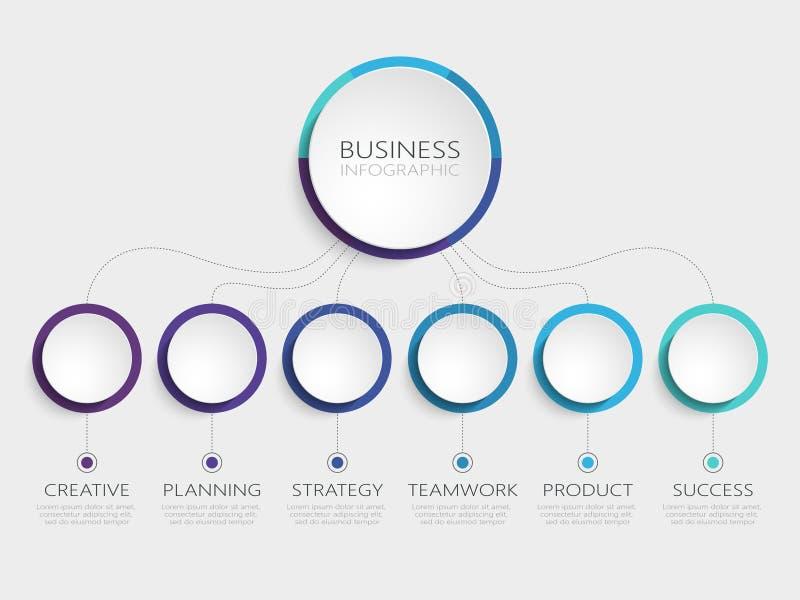 Abstrakte Schablone 3D Infographic mit 6 Schritten für Erfolg Wirtschaftskreisschablone mit Wahlen für Broschüre, Diagramm, Arbei stock abbildung