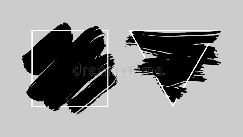Abstrakte Schmutzhintergrundschablone Schwarzer Bürstenanschlag über Dreieckrahmen und über quadratischem Rahmen lizenzfreie abbildung