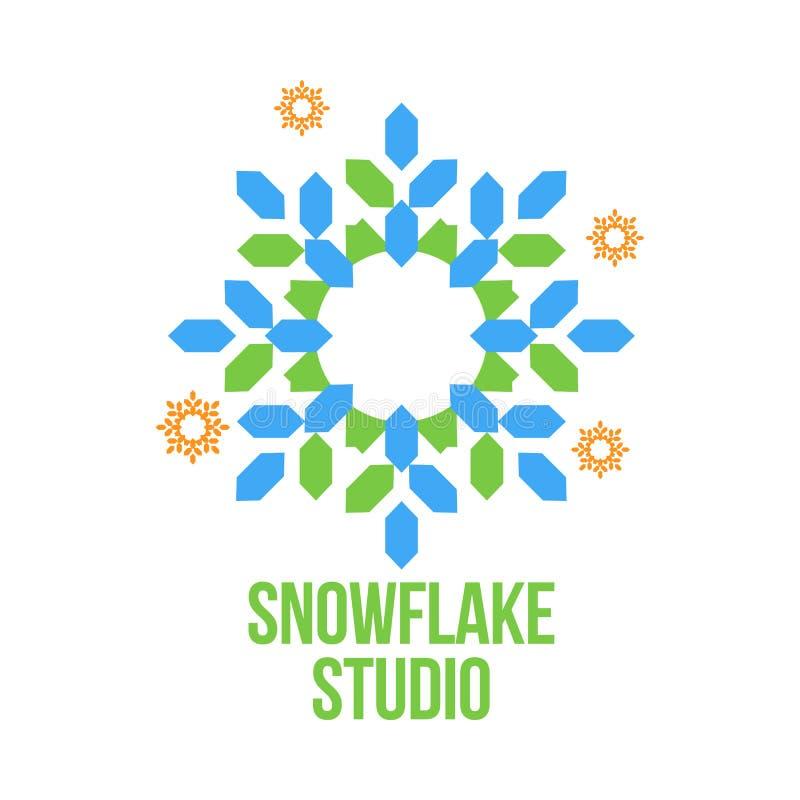 Abstrakte Schneeflockenvektor-Logoschablonen lizenzfreie abbildung