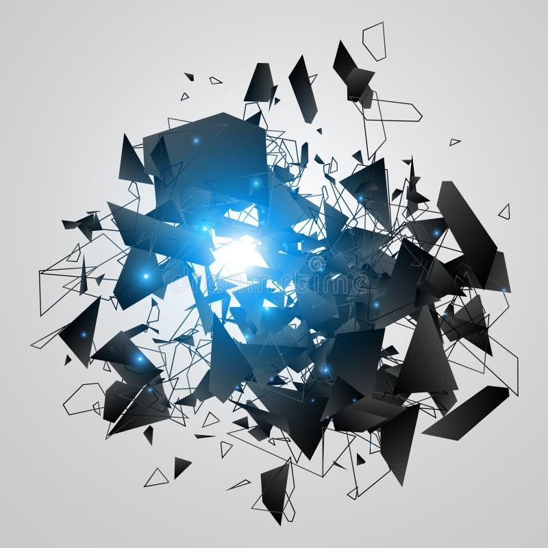 Abstrakte schwarze Explosion Geometrischer Hintergrund Auch im corel abgehobenen Betrag vektor abbildung