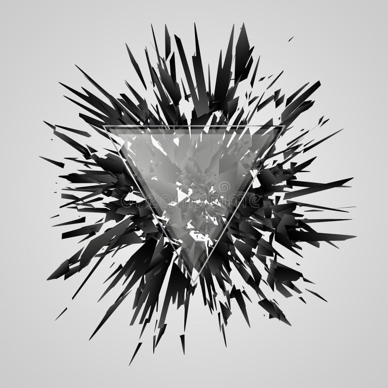 Abstrakte schwarze Explosion Geometrischer Hintergrund mit Dreieck Auch im corel abgehobenen Betrag vektor abbildung