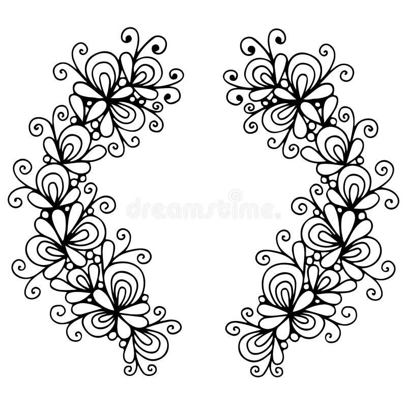 Abstrakte schwarze Linie Kranz mit Blume lizenzfreie abbildung