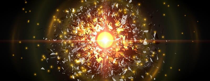 Abstrakte schwarze Partikelexplosion Es kann für Leistung der Planungsarbeit notwendig sein stock abbildung