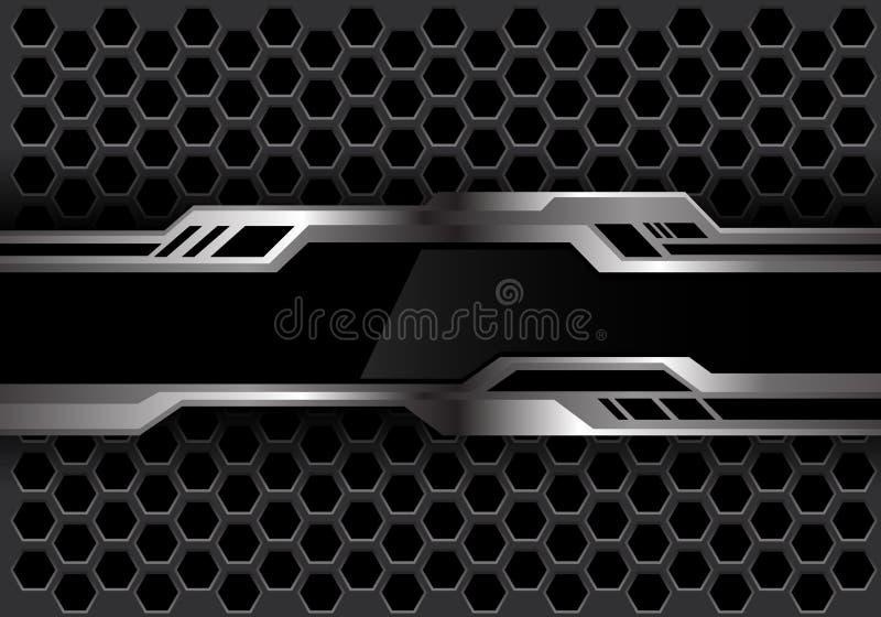 Abstrakte schwarze silberne futiristic Fahne auf Hintergrund-Technologievektor des dunkelgrauen Hexagonmaschendesigns modernem stock abbildung