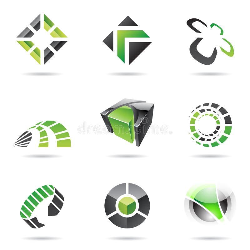 Abstrakte schwarze und grüne Ikone stellte 15 ein stock abbildung