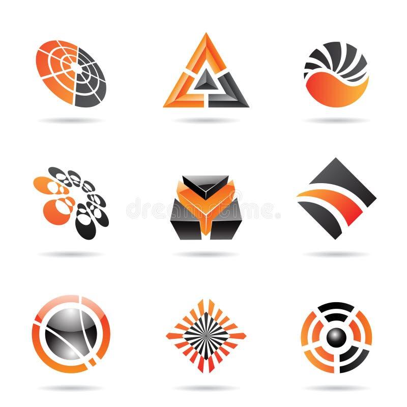 Abstrakte schwarze und orange Ikone stellte 23 ein stock abbildung