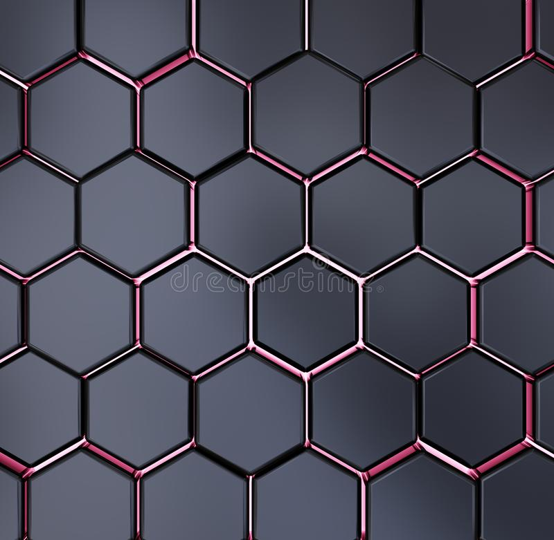 Abstrakte schwarze und rote Wiedergabe des Hexagonbeschaffenheitshintergrundmusters 3d vektor abbildung