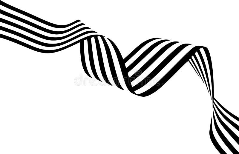 Abstrakte Schwarzweiss-Streifen verbogen glatt Band geometrica lizenzfreie abbildung