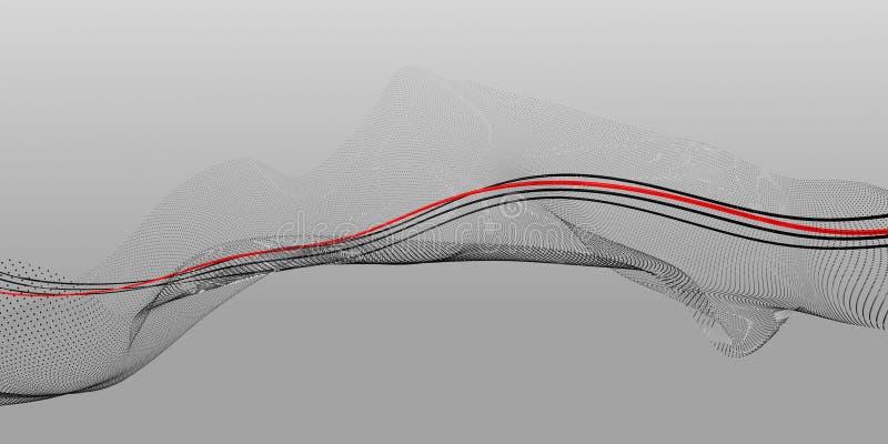 Abstrakte Schwarzweiss-Zusammensetzung von Punkten und von Linien mit einer roten zentralen Linie vektor abbildung