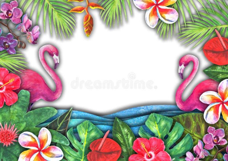 Abstrakte Sommeraquarell-Seewelle, Sandstrand, tropische Anlagen, rosa Flamingohintergrund lizenzfreie stockbilder