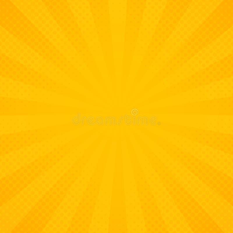 Abstrakte Sonne des gelben und orange Strahlenstrahln-Musterhintergrundes stock abbildung