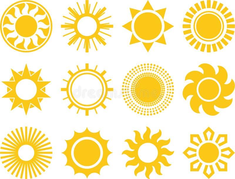 Abstrakte Sonnen stock abbildung