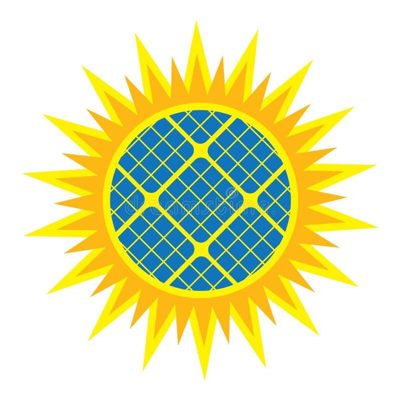 Abstrakte Sonnenkollektorikone stock abbildung