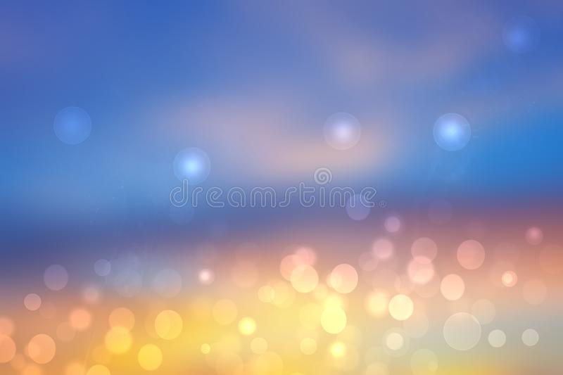 Abstrakte Sonnenuntergangsillustrierung Abstrakter Abend- oder Sonnenuntergang Hintergrundbeleuchtung mit orangefarbenen und gold vektor abbildung