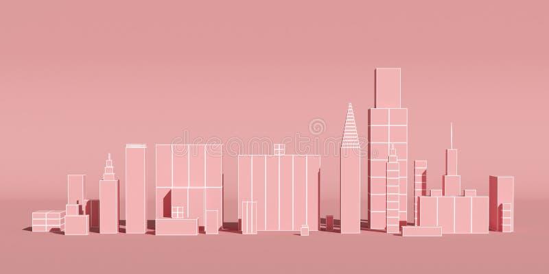 Abstrakte Stadt mit Wolkenkratzerhintergrund, futuristisches Stadtpanorama Abbildung 3D lizenzfreie abbildung