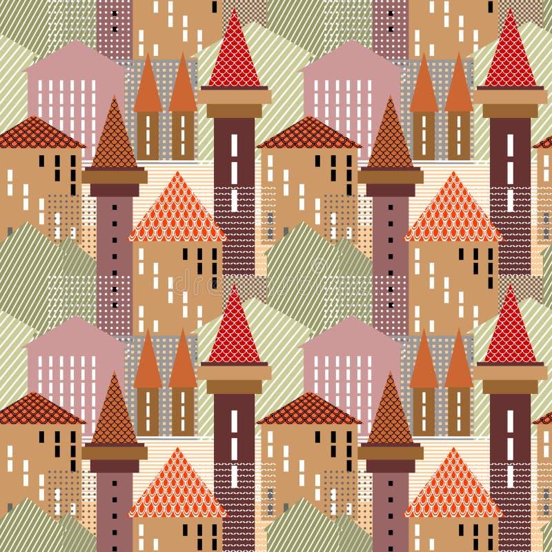 Abstrakte Stadt. Nahtloses Muster. lizenzfreie abbildung