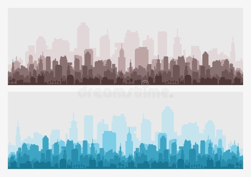 Abstrakte Stadtgebäudeskyline - horizontaler Netzfahnenhintergrund Schattenbild der Stadt Gebäudeschattenbildstadtbild stock abbildung