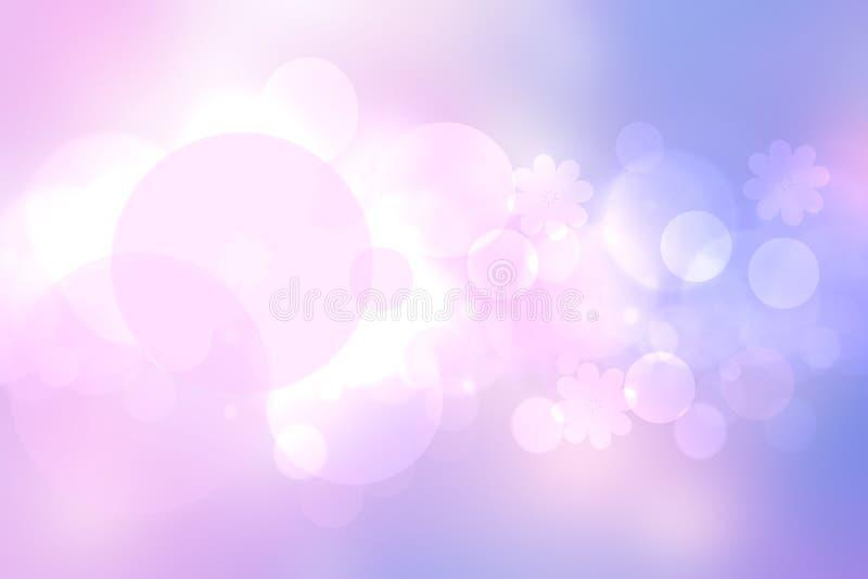 Abstrakte Steigung der rosa blauen Pastell- hellen Hintergrundbeschaffenheit mit glühenden Kreis-bokeh Lichtern Schöner bunter Fr lizenzfreie abbildung