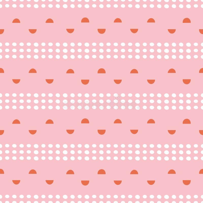 Abstrakte Stellen und kreist halb geometrisches nahtloses Muster im Rosa ein, orange und weiß Moderner Vektorwiederholungsentwurf vektor abbildung