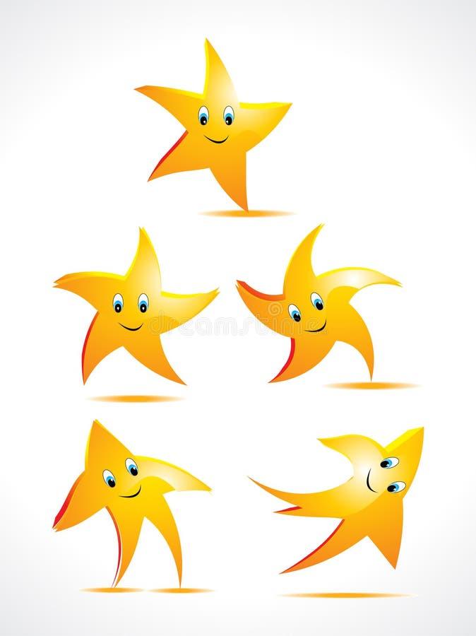 Abstrakte Sterne mit smileyset lizenzfreie abbildung