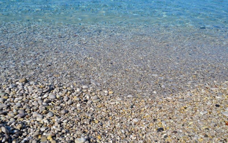Abstrakte Strandhintergrundbeschaffenheit mit Kieseln, Sanden und Meerwasser in bodrum Truthahn lizenzfreies stockbild