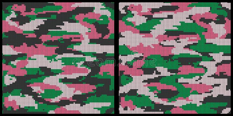 Abstrakte strickende nahtlose Beschaffenheiten eingestellt Militärischer dekorativer Tarnungs-Muster-Hintergrund Auch im corel ab lizenzfreie abbildung