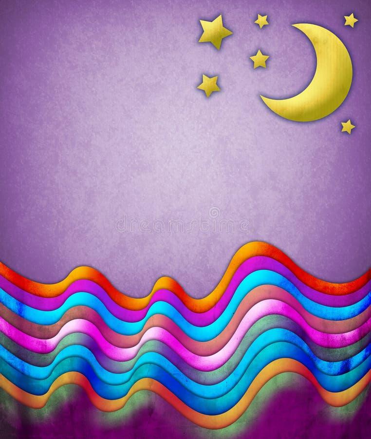 Abstrakte Szene mit einem Mond und Sternen lizenzfreie abbildung