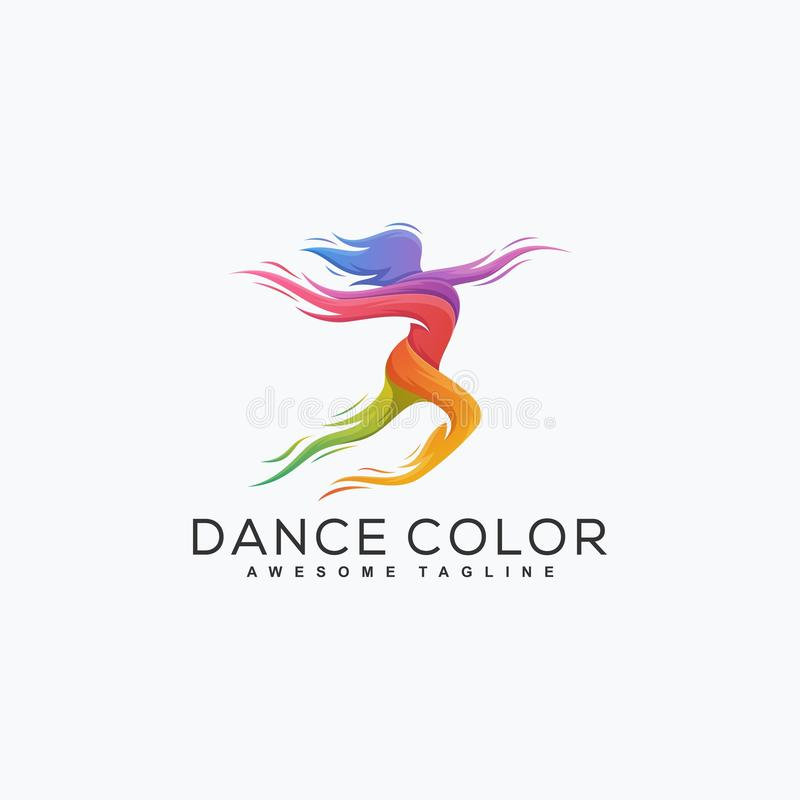 Abstrakte Tanz-Farbillustrations-Vektor Entwurfsschablone stock abbildung
