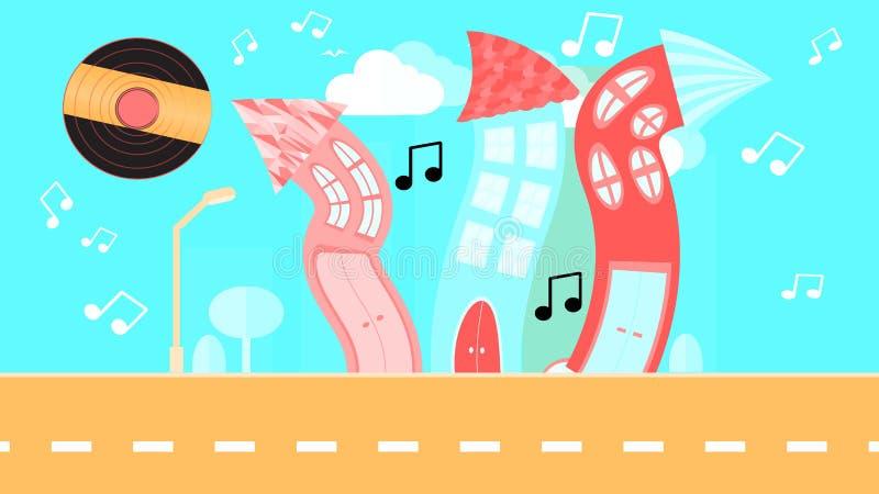 Abstrakte Tanzenstadt in einer flachen Art mit einer Vinylplatte anstelle der Sonne mit gebogenen Häusern mit Anmerkungen mit Bäu vektor abbildung