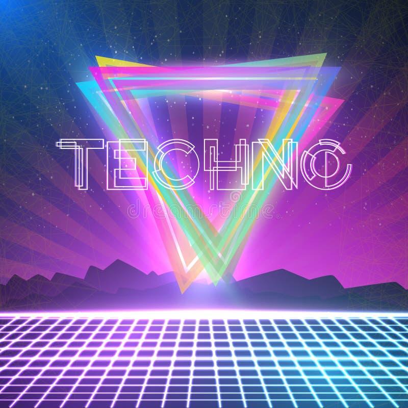 Abstrakte Techno-achtziger Jahre reden Hintergrund mit Dreiecken, Neongitter an vektor abbildung