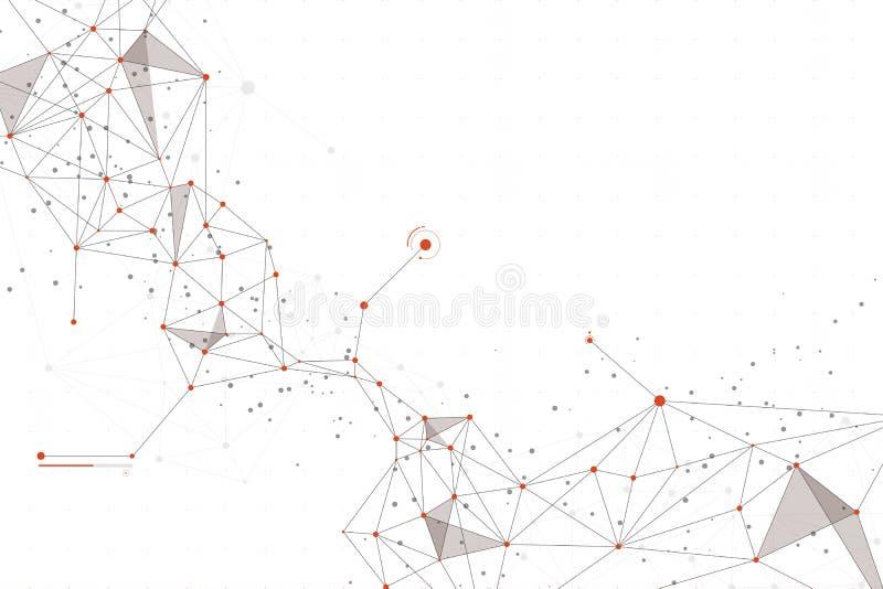 Abstrakte Technologie Design der verbundenen orange Farbe der Punkte auf weißem Hintergrund stockbild