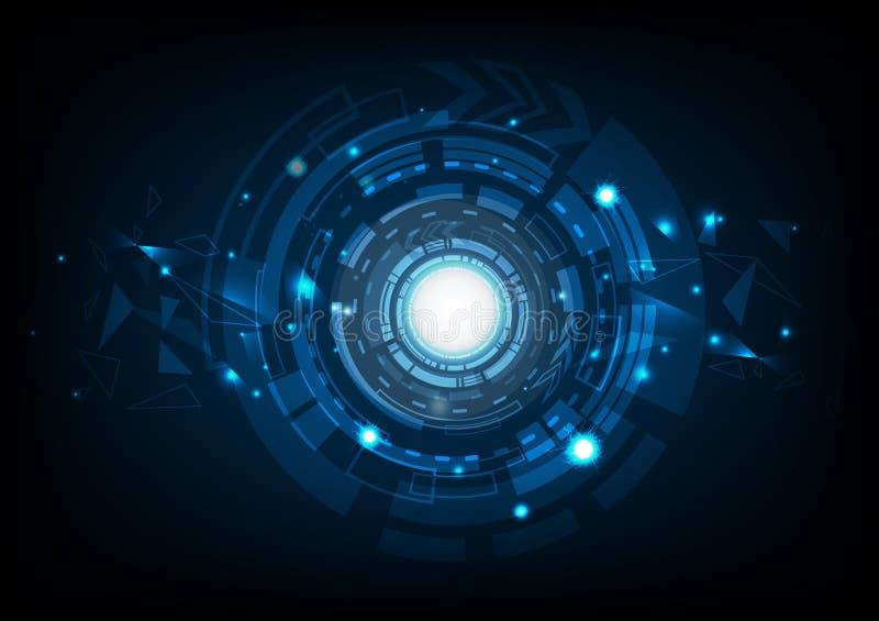 Abstrakte Technologie mit Blitzschein und Dreiecke molecul lizenzfreie abbildung