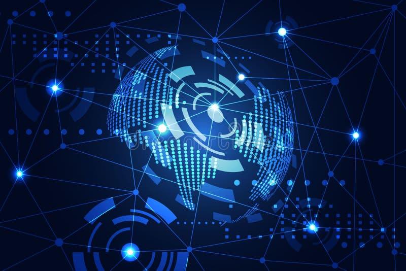 Abstrakte Technologiekonzept-Weltdigitaler Link auf High-Techem Blau b lizenzfreie stockfotografie