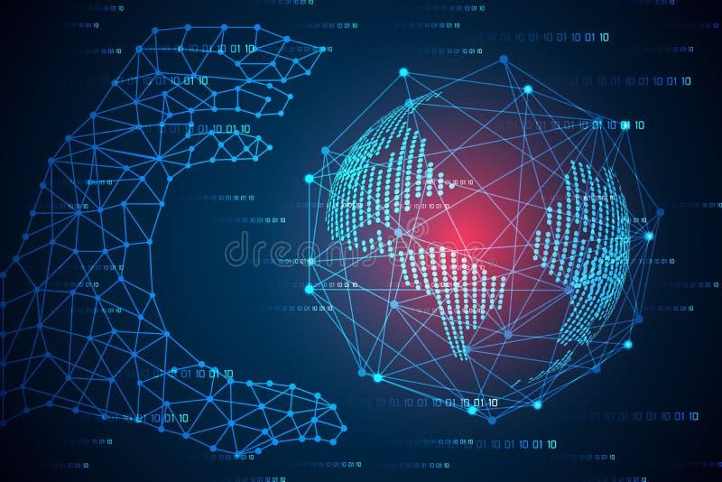 Abstrakte Technologiekonzepthände digital und Weltlinkzukunft stockfotos