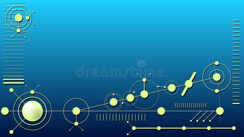 Abstrakte Technologiekreisformen auf dunkelblauem Hintergrund lizenzfreies stockbild