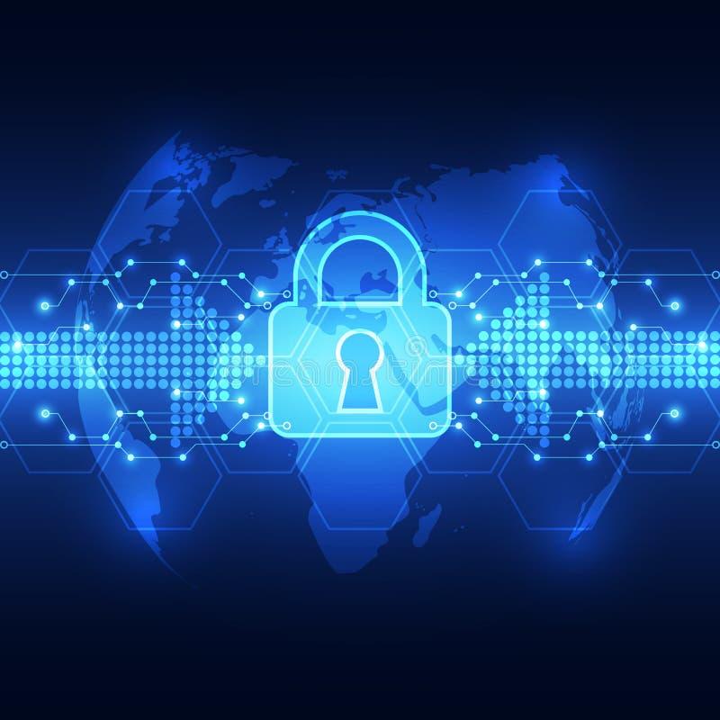 Abstrakte Technologiesicherheit auf Hintergrund des globalen Netzwerks, Vektorillustration stock abbildung